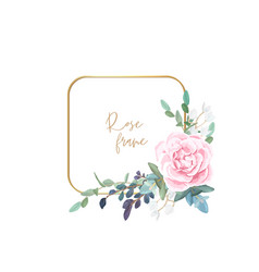 Gold frame with pale roses eucalyptus leaves vector