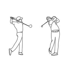 Golfer monoline style vector