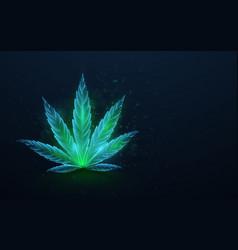 Green cannabis leaves with formula cbd vector
