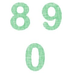 Green fabric font set - numbers 8 9 0 vector image