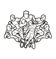 Group rugby players action cartoon sport vector