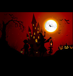 Halloween background with silhouettes of children vector