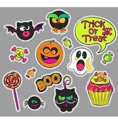 halloween patch badges vector image