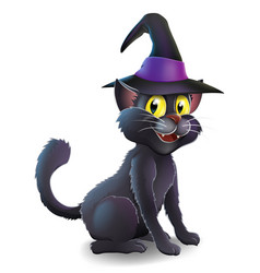 Halloween witch cat vector