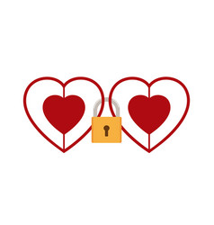 hearts locked together with padlock vector image