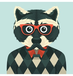 Hipster raccoon vector