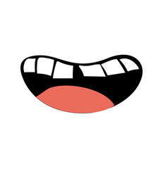 Human mouth with teeth and tongue vector