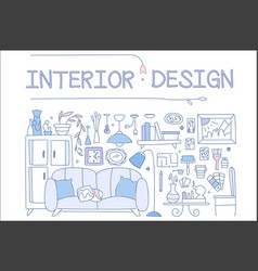 interior design set hand drawn furniture vector image