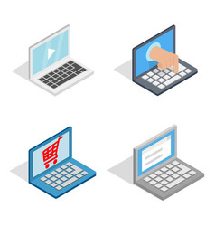 laptop icon set isometric style vector image