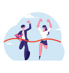 Leadership and teamwork concept business people vector