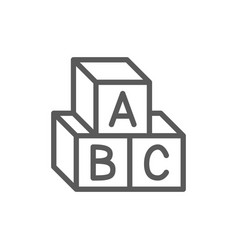 letter cubes alphabet toys line icon vector image