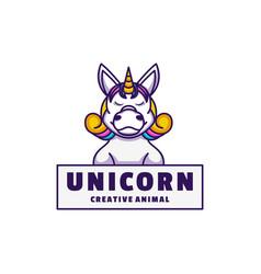logo unicorn mascot cartoon style vector image