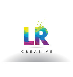 Lr l r colorful letter origami triangles design vector