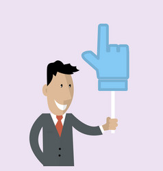 Man is holding a thumbs up vector