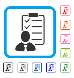 Manager check list framed icon vector