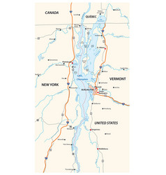 map north american lake champlain vector image