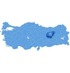 Map of Turkey Tunceli vector image