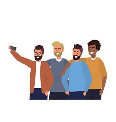 Millennial diverse group taking selfie portrait vector
