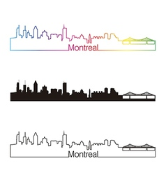 Montreal skyline linear style with rainbow vector image