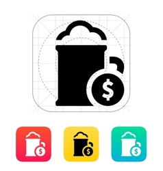 Mug of beer with dollar icon vector
