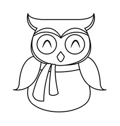 Owl in christmas hat and scarf festive image vector