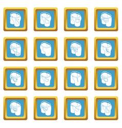 Pants pockets design icons set sapphirine square vector