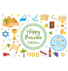 Passover icons set flat cartoon style jewish vector