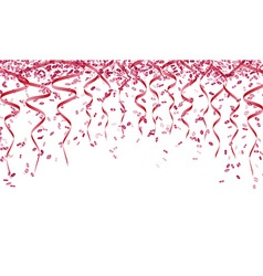 Pink confetti and ribbons vector