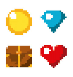 pixel game set icons arcade retro vector image