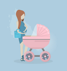pregnant woman with a stroller vector image