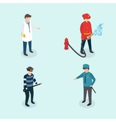 Profession people Doctor fireman policeman vector image