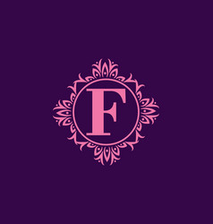 purple f initial letter in circle classic frame vector image