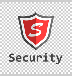 Red shield logo in flat style with word security vector