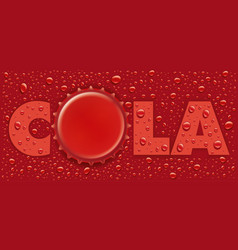 Red water drops background with bottle cap vector