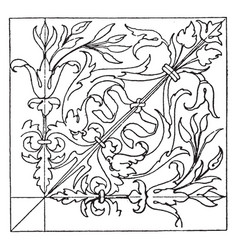 renaissance square panel is an wood inlaying vector image