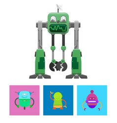 robots collection with faces vector image