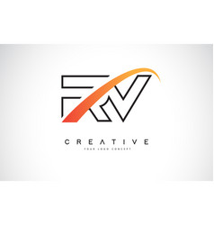 Rv r v swoosh letter logo design with modern vector