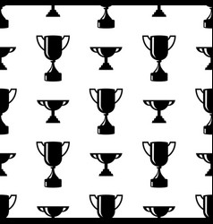 Seamless awards pattern winner cups on white vector