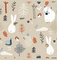 seamless childish woodland pattern with bunny vector image