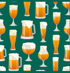 Seamless pattern with beer mugs vector