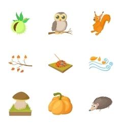 season year autumn icons set cartoon style vector image