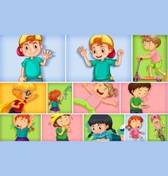 set different kid characters on different vector image