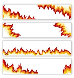 Set of banners flame vector image