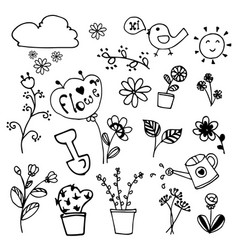 Set of beauty flowers doodle hand drawn on vector