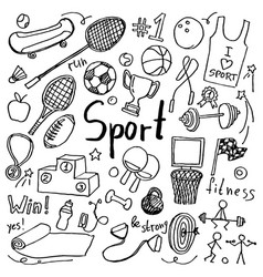Set of hand drawn doodle sport icons vector