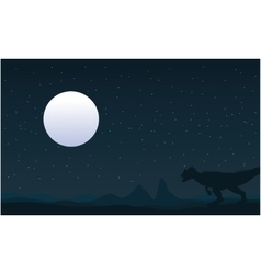 Silhouette of Allosaurus and moon landscape vector