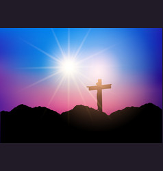 silhouette of jesus on the cross vector image
