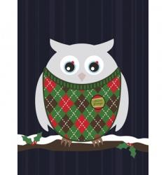 Snowy christmas owl vector