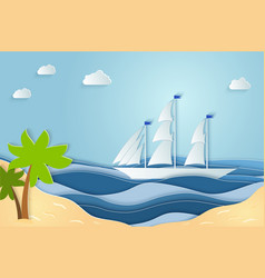 Summer sea picture origami made paper relax on vector