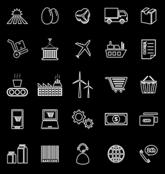 Supply chain line icons on black background vector image